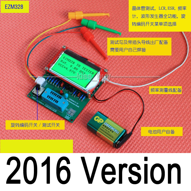 2016 version EZM328(GM328R) Digital Combo transistor tester ESR frequency LCR Diode Capacitor meter PWM squarer wave genera2016 version EZM328(GM328R) Digital Combo transistor tester ESR frequency LCR Diode Capacitor meter PWM squarer wave genera