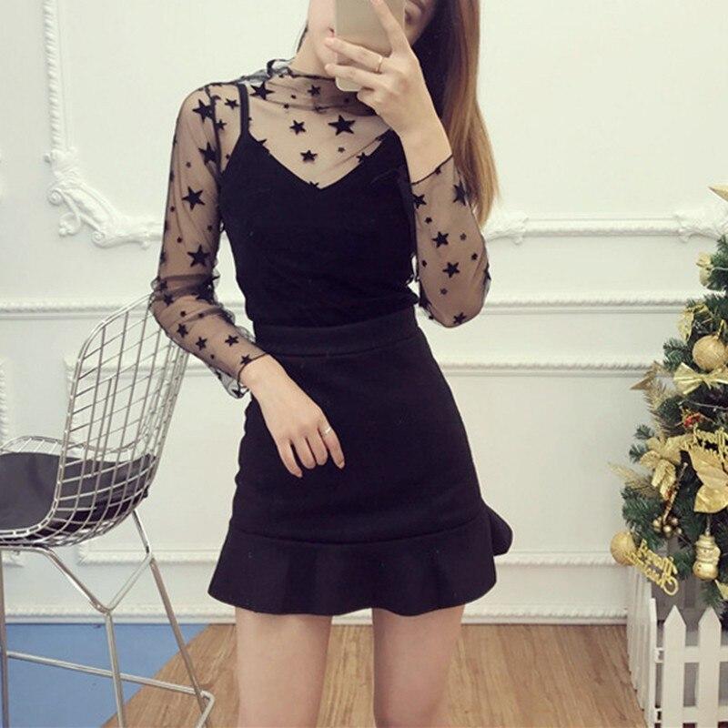 Fashion Sexy Women Sheer Mesh tshirt See Through Perspective Full Sleeve Summer Girl T Shirt Tops Tee All-match