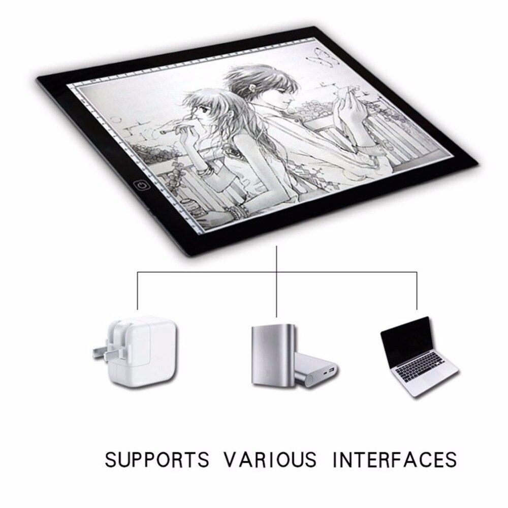 Portable A3 LED Lumière Pad Boîte Dessin Copie Conseil Rédaction Tablette Graphique Table Pad Panneau Pad Conseil Copie avec Luminosité contrôle
