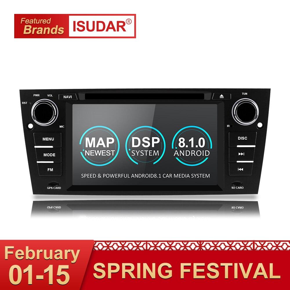 Isudar 1 Din Auto Lettore Multimediale GPS Android 8.1 Per BMW/320/328/3 Serie E90/ e91/E92/E93 Lettore DVD Radio FM Quad Core 2 + 16 GB