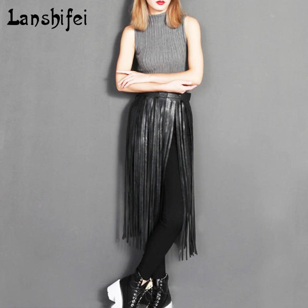 Hot Sell Sexy Boho Long Tassel Imitation Leather Belts Fashion Women High Waist Metal Buckle Leather Skirt Belts Accessories
