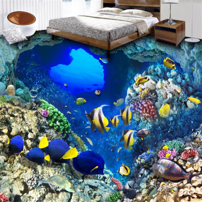 Beibehang Seabed world karst cave fish 3D floor painting custom large wall painting wear resistant and waterproof film