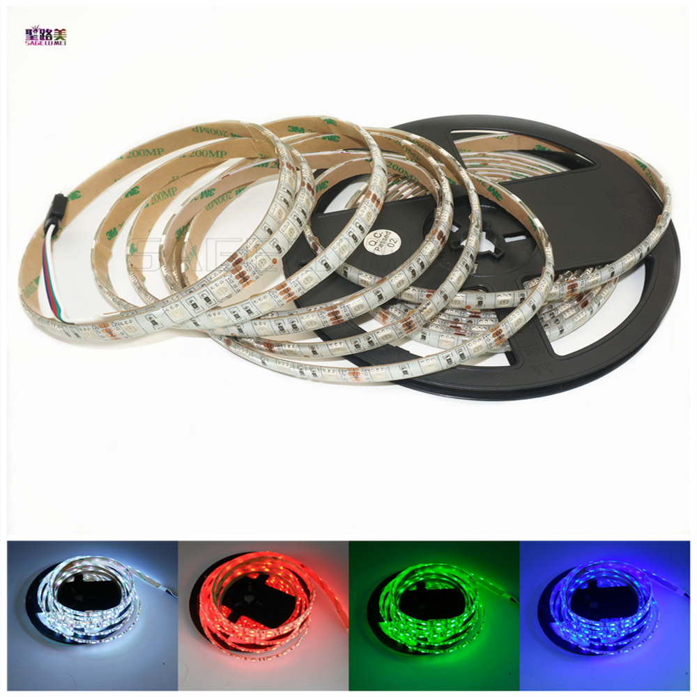 Industrious Free Shipping 5m 300led Dc12v 5050 Led Strip 12v 60leds/m Tape Red/blue/green/yellow/white/uv/pink/rgb Ip30/ip65 Waterproof Lamp Fashionable In Style;