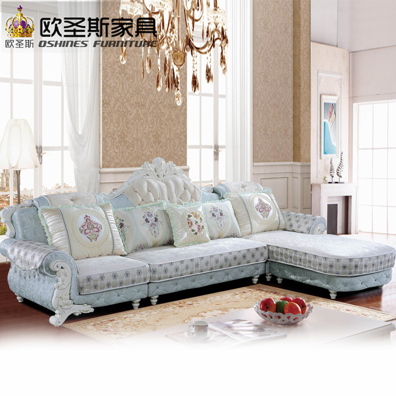 Luxury l shaped sectional living room furniutre Antique Europe design classical corner wooden carving fabric sofa sets 9803 furniture russia sectional fabric sofa living room l shaped fabric corner modern fabric corner sofa shipping to your port