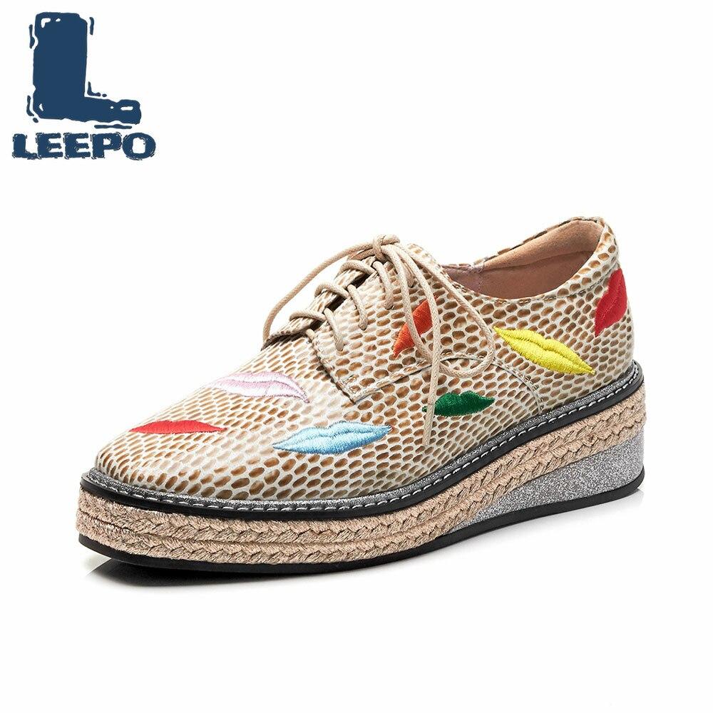 LEEPO femmes plate-forme chaussures femme marque de luxe à la main broderie à lacets Chunky chaussures femme doux confort plate-forme appartements