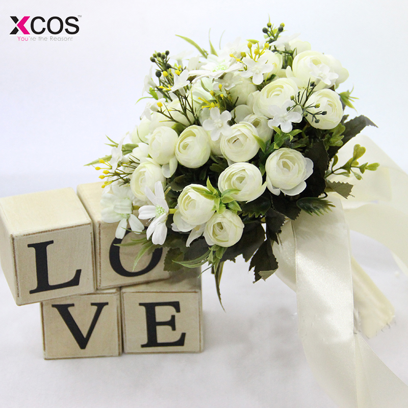 ebb3608e20 Ivory Rose Bridesmaid Wedding Foam flowers Rose Bridal bouquet Ribbon Fake  Wedding bouquet de noiva