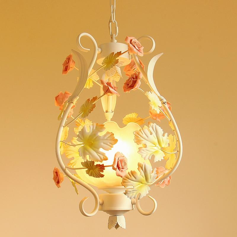 Pastoral Romantic Style Korean Wrought Iron Pendant Light Pink Rose Flower  Bedroom Dining Room Hanging Lighting Lamp