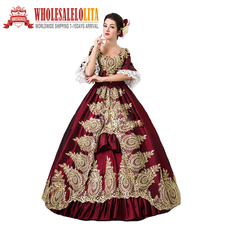 1860s Civil War Victorian Rococo Style Day Dress Marie Antoinette Prom Dresses Event Holiday