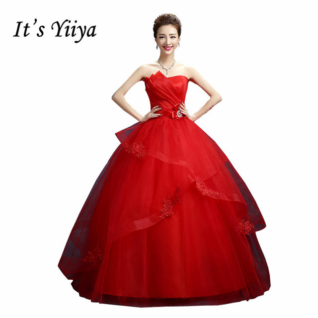 Free Shipping Plus size Red Ruffles Bow Waist Strapless Wedding ...