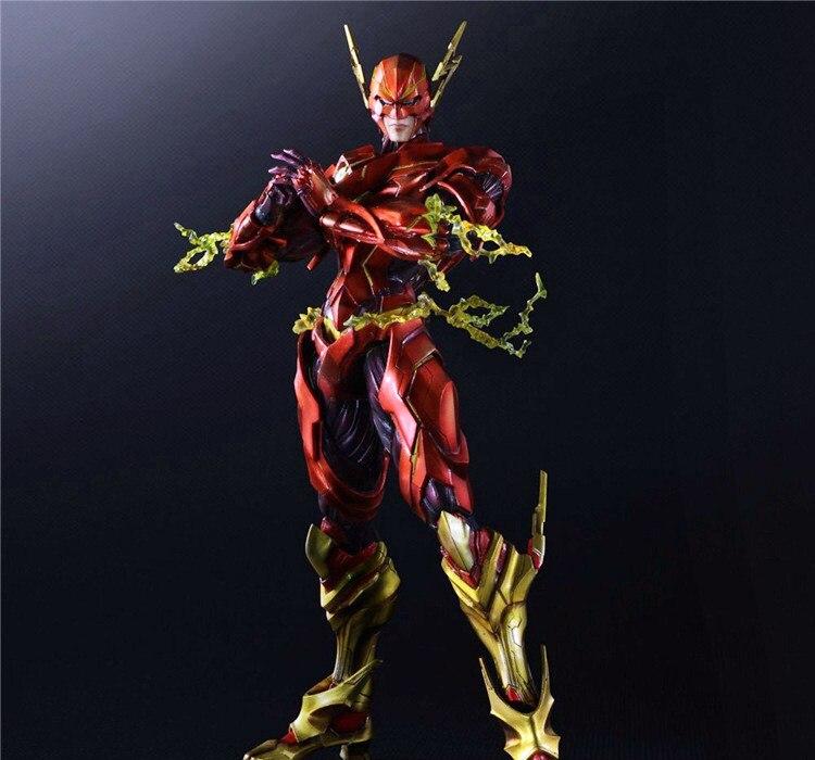 ФОТО Play Arts Kai Flash Action Figures The Flash Armor Ver NO 4 PVC Toys 270mm Movie Model Heavily-armored Barry Allen Playarts Kai