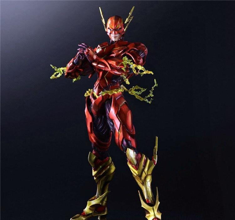 Play Arts Kai Flash Action Figures The Flash Armor Ver NO 4 PVC Toys 270mm Movie Model Heavily-armored Barry Allen Playarts Kai