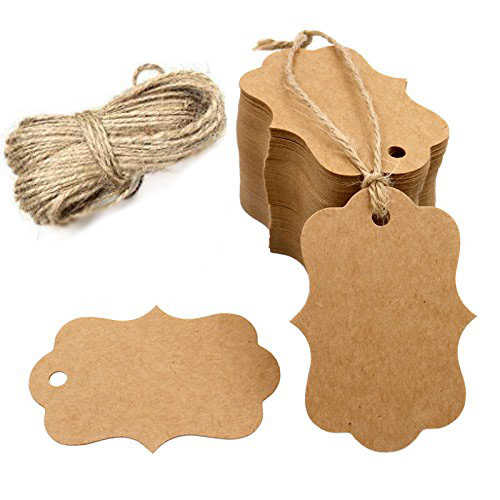 100pcs Blank Kraft Paper Tags With Hole For Wedding Party Decoration Gift Tags Packaging Hang Tags School Stationery Supply