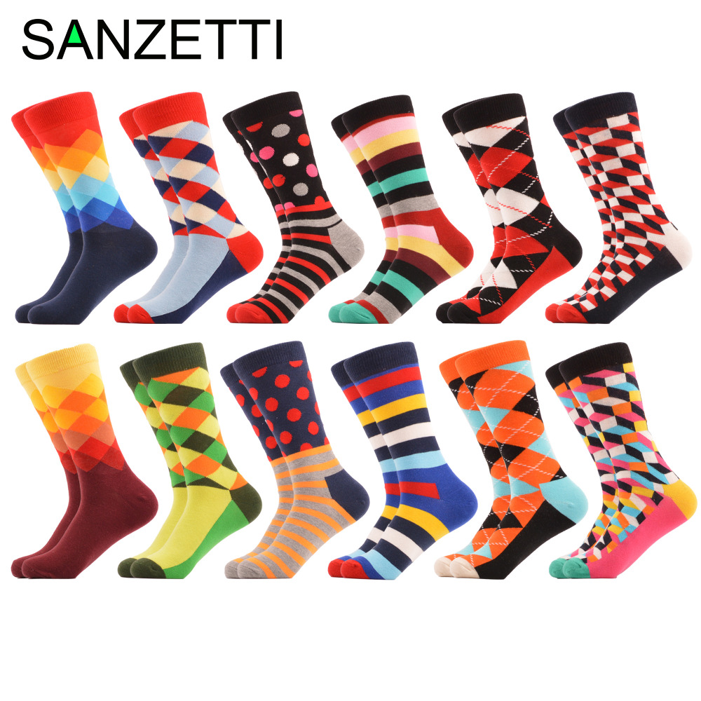 SANZETTI 12 Pairs/lot Mens Funny Colorful Combed Cotton Socks Red Argyle Dozen Pack Casual Happy Socks Dress Wedding Socks