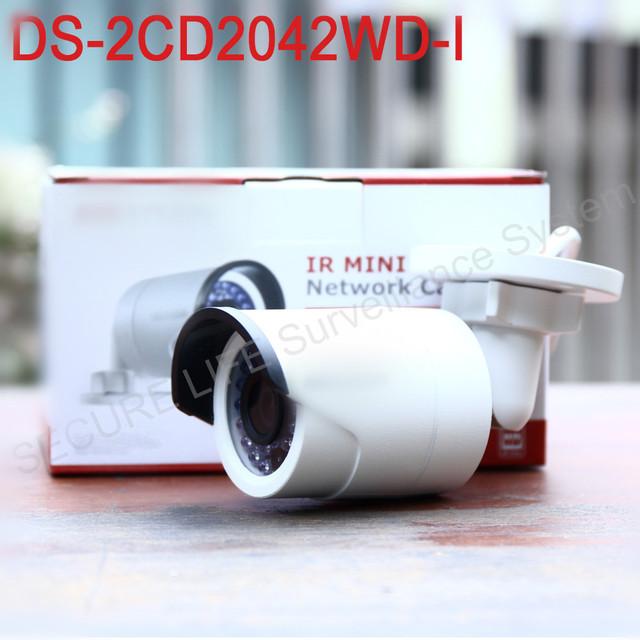 O envio gratuito de versão Em Inglês 4MP DS-2CD2042WD-I IR Câmera de Rede Bala, CCTV câmera de segurança ip P2P POE, suporte H.264 +