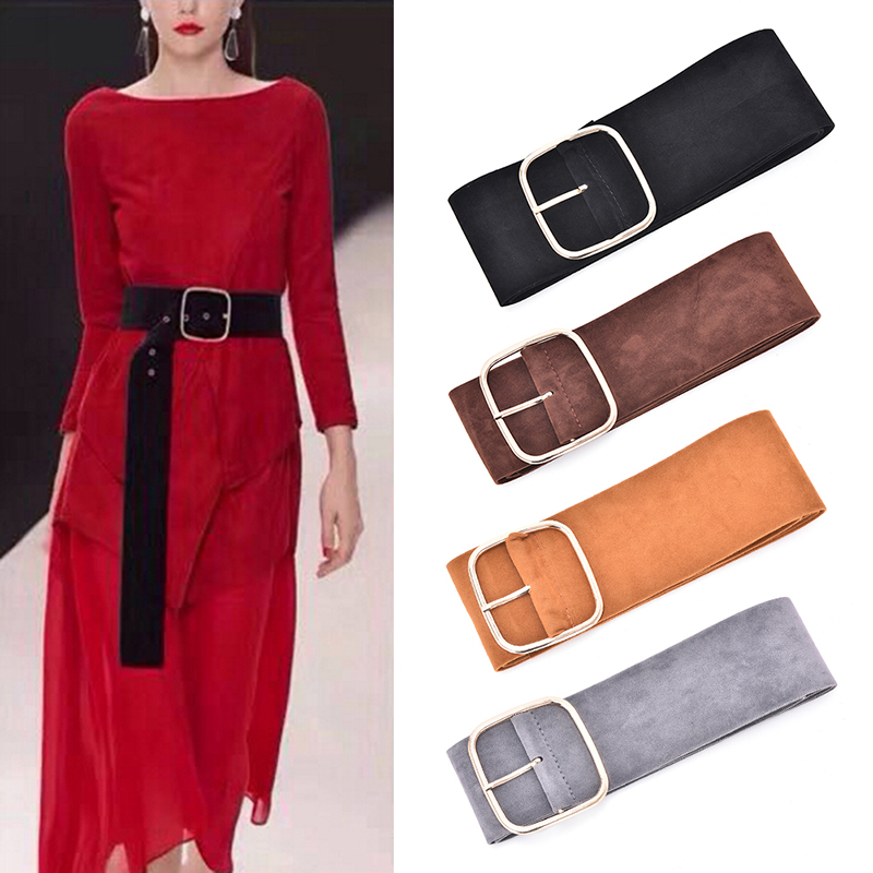 Long  Pin Buckle Sweater Bundle Waist Skirt Waistband 6 Colors Women Down Coat Wide Belts Velvet Soft Strap Belt