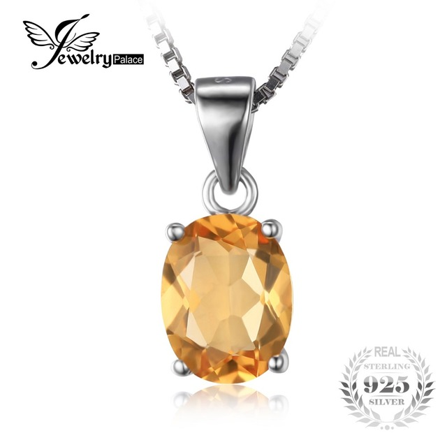 Jewelrypalace 1.7ct natural citrino birthstone oval solitaire colar pingente 925 prata esterlina sólida 45 cm cadeia fine jewelry