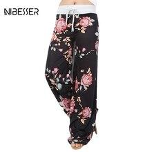 NIBESSER 2017 Mode Lebar Kaki Celana Wanita Celana Feminin Musim Semi Musim Panas Longgar Celana Kasual Floral Printing DrawstringLong