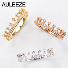 AULEEZE 0.16ct Real Diamond Crown Ring Solid 18K 750 Yellow Gold Engagement Wedding Rings For Women Certified Diamond Jewelry