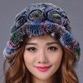 2016 Nueva Piel de Conejo Rex Sombrero de Invierno de Las Mujeres Elegantes Gorros Sombrero Caliente Gorras de Moda Femenina Tapas de Rusia Genuino del Color Ocasional