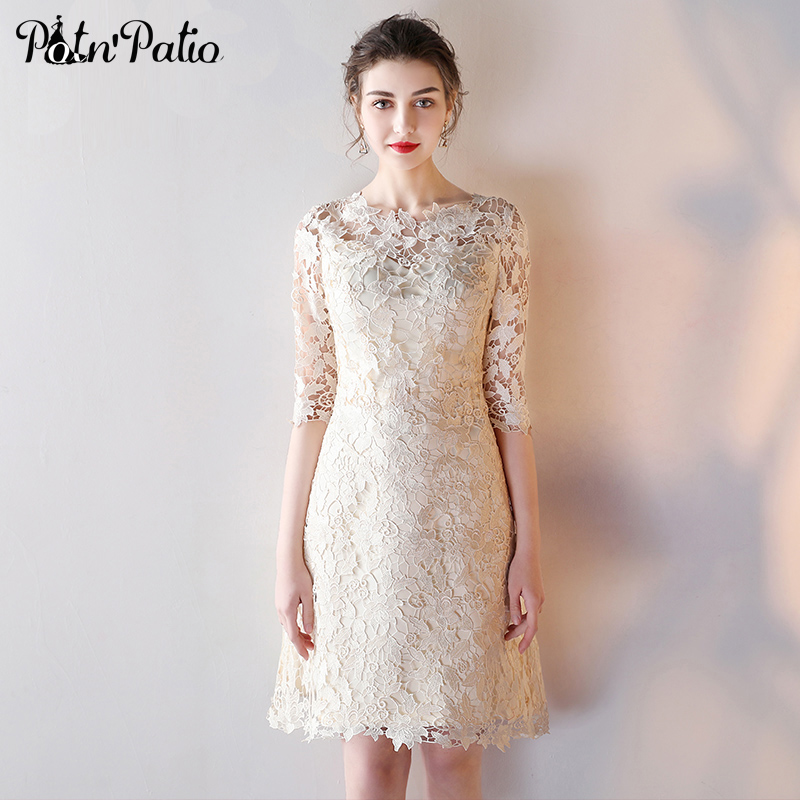 PotN\'Patio Elegant O neck Half Sleeves Cut out Lace Champagne ...