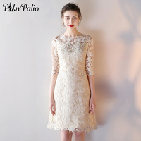PotN'Patio Elegant O-neck Half Sleeves Cut-out Lace Champagne Cocktail Dresses Homecoming Party 2017