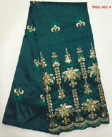 African George Wrapper In Army Green With Gold Embroidery 5yards Pcs Silk Satin For Sewing Nigerian