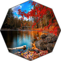 H P0130 Custom Autumn Style 3 Personalized Portable Triple Foldable Sun And Rain Umbrella Decorative Umbrellas