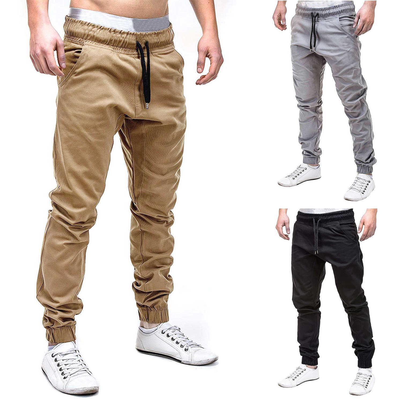 Pantalones casuales para hombres con cordón cintura elástica de Color sólido para correr Pantalones deportivos 2018 primavera otoño pantalones para hombres aumentar el tamaño M-6XL