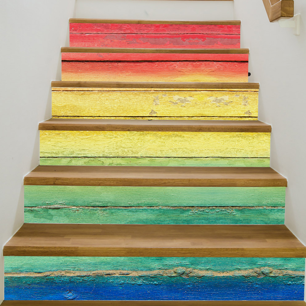 6 Pieces/Set Creative DIY 3D Stairway Stickers Retro Rainbow Borad Pattern for Room Stairs Decoration Floor Decals <font><b>Wall</b></font> Sticker