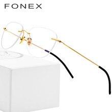 688cd9aa7 FONEX B Sem Aro de Titânio Puro Óculos de Armação Mulheres Óculos de Grau de  Miopia Armações Dos Homens Novos Do Vintage Oval Ey.