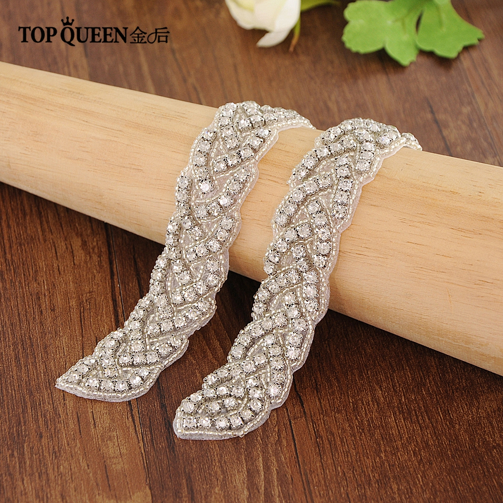 TOPQUEEN S216 Handmade Rhinestones Evening Party Prom Dresses Accessories Wedding Belt Sashes Waistband Can Customize Any Size