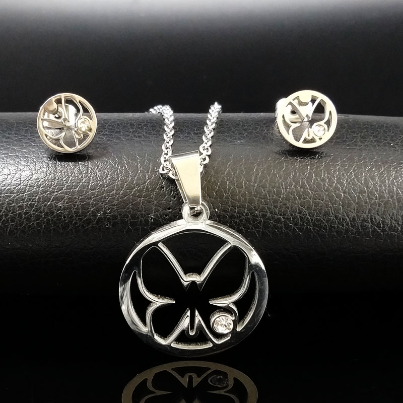 Gold Color Crystal Jewelry Sets For Women Flower Stainless Steel Necklaces Earrings Jewerly Set conjunto de joyas S6863