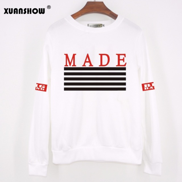 XUANSHOW Women KPOP Bigbang Hoodies Printed MADE Album Fleece Pullovers BTS Fans Clothing Hip Hop Autumn Winter Sweatshirt
