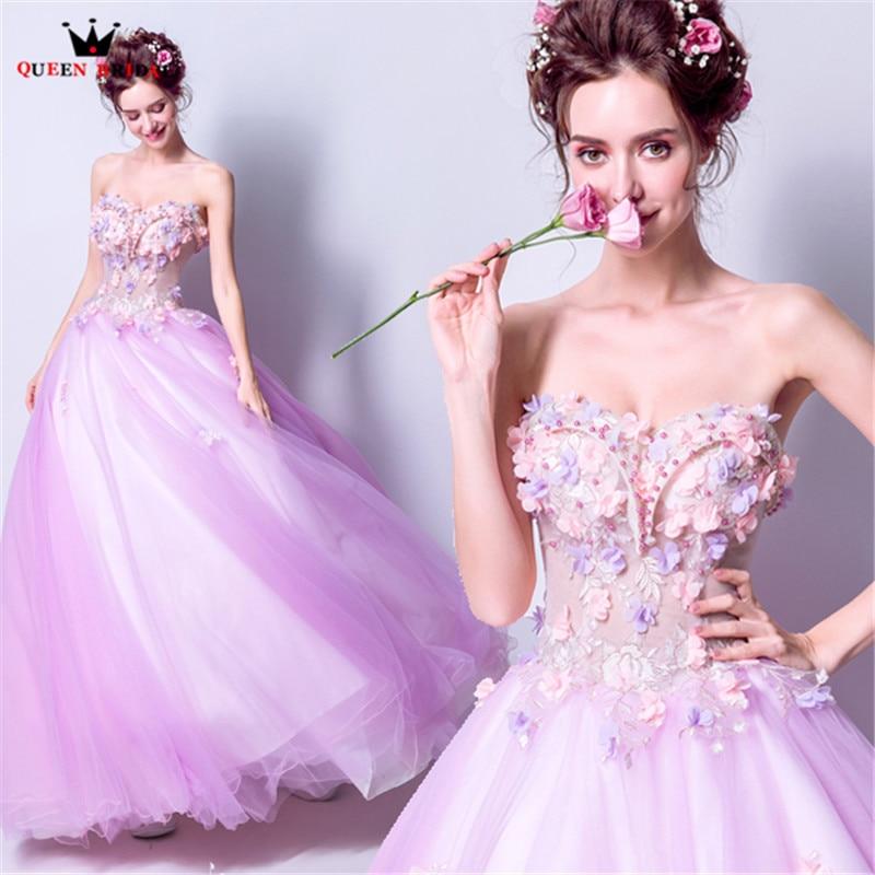 QUEEN BRIDAL Evening Dresses Strapless 3D Flowers Beading Long Purple Party Prom Dress Gowns 2018 New Vestido De Festa LS78
