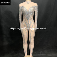 BU278 Women Sexy Net Yarn Jumpsuit Full Of Glass Sparkling Crystals Bodysuit Nightclub Party Fashion Show Singer Bling Costumes