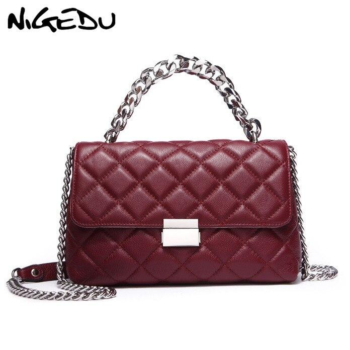 Bolsa de Ombro Bolsas de Luxo Designer de Couro Nigedu Feminina Pequenas Bolsas Femininas Senhoras Crossbody Bolsa Treliça Diamante Feminino Totes