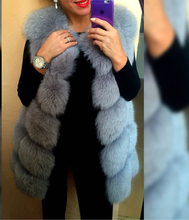 Women's New 100% Genuine Fox 2016 Fur Vest Medium Vest Women's Winter Jacket Waistcoat Warm Winter Fur Jacket Plus Size V61