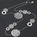 Cobre choker collares para las mujeres long hollow circular joyería plateada de plata hecho a mano de la vendimia grande colares collier femme collane