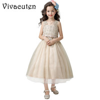 Elegant Glitz Champagne Flower Kids Girl Pageant Holy Party Dresses Toddlers Teenagers Baby Princess Birthday Baptism Dress F219