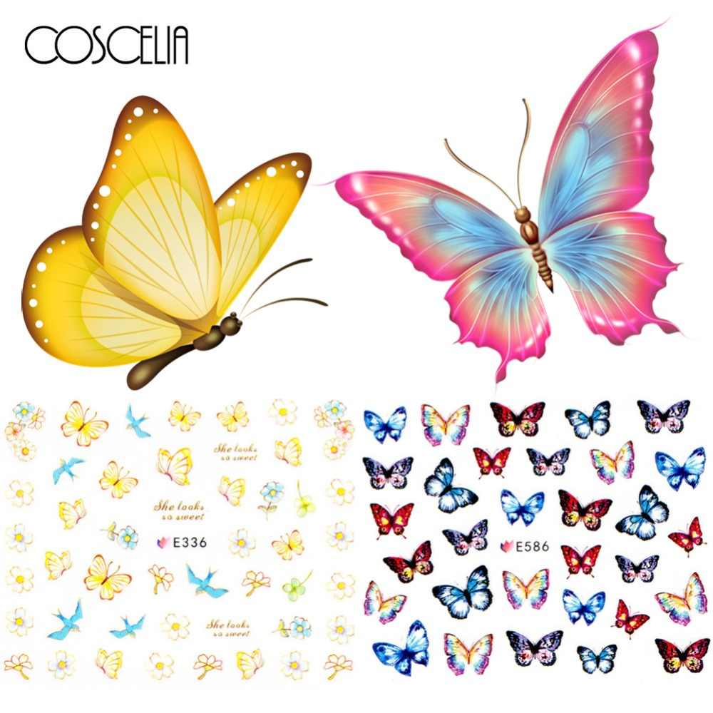 12pcs Nail Sticker Butterfly Flower Water Transfer Decal Sliders for Nail Art Decoration Tattoo Manicure Wraps Tools Tip