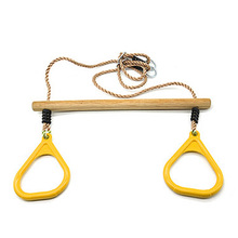 DSHA New Hot Multifunction Children's Wooden Trapeze Swing With Plastic Rings