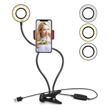Uniwersalna lampa pierścieniowa Selfie z elastycznym uchwytem na telefon komórkowy wspornik dla leniwych Lamp biurkowych LED Light dla Live Stream Office Kitchen tanie i dobre opinie Zesgood Aluminium Mini statyw lekkie Smartfony A-frame