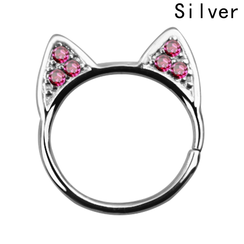 New Style Zinc Alloy Cat Ear Shape Nasal ring for Women Animal Hollow Cat Ear Party Nasal ring 2018 New Fashion Wedding Gifts