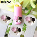BlueZoo 20 unidades/pacote Flor Roxa E Branca Pérolas 3D Prego Jóias Vinho Tinto E Limpar Glitter Strass Design de Unhas Maquiagem dicas