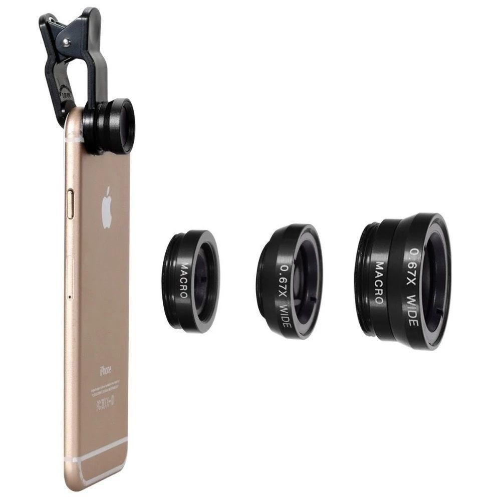 Fisheye Lens 3 in 1 mobile phone clip lenses fish eye wide angle macro camera lens for iphone 6 6s plus 7/7 plus xiaomi huawei 4