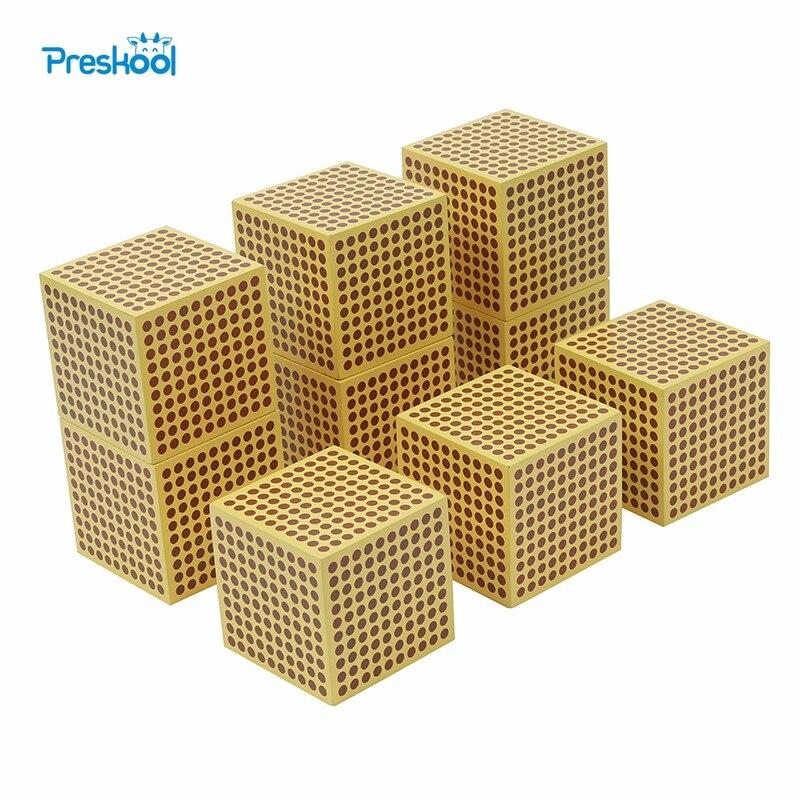Jouet bébé Montessori 9 bois mille Cubes mathématiques formation préscolaire apprentissage précoce enfants jouets Brinquedos Juguete