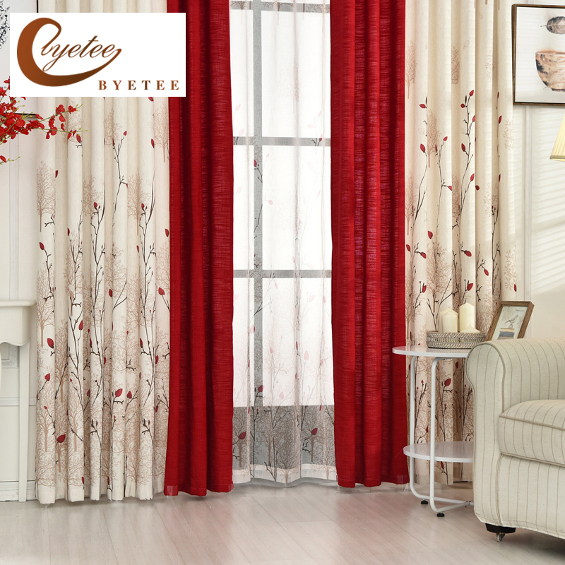Buy Byetee Beige Red Stitching Faux Cotton Linen Curtain Window Curtains For