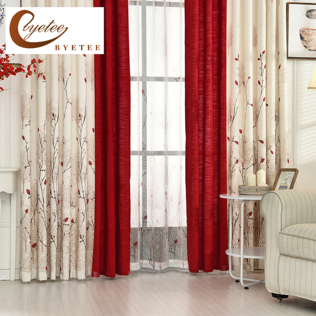 {Byetee} Beige Red Stitching Faux Cotton Linen Curtain Window Curtains For Living  Room Luxury Part 87