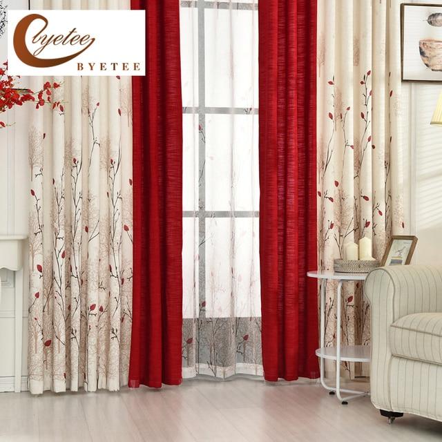 Byetee} Beige rouge couture Faux coton lin rideau rideaux de fenêtre ...