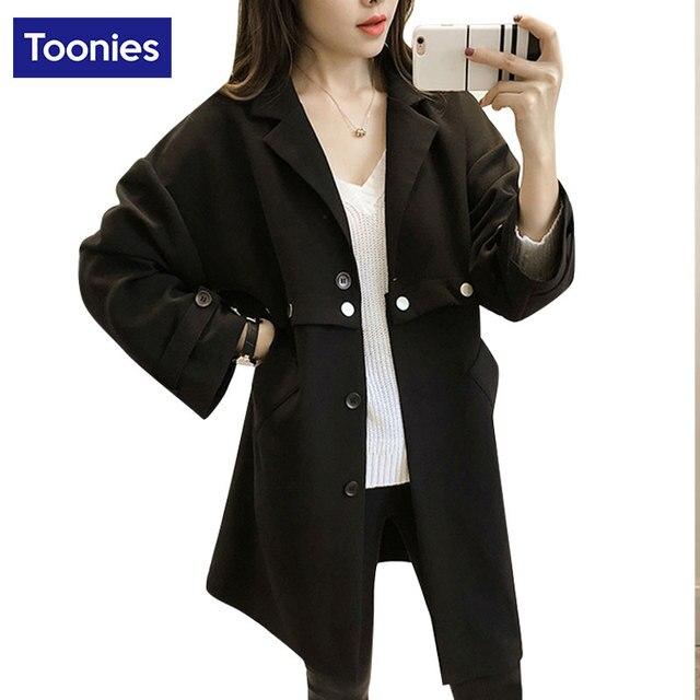 Feminino casaco plus size trincheira gola do casaco do terno longo comprimento clothing primavera manteau femme blusão outwear cinza preto das mulheres